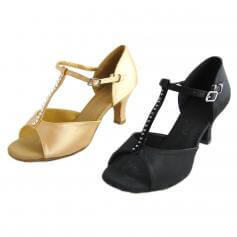 "Danzcue ""Tina"" Adult T-Strap Rhinestone Open Toe Ballroom Shoes"