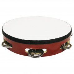 "Danzcue 8"" Silver/Red Single Row Jingles Tambourine"