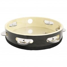 "Danzcue 8"" Silver/Black Single Row Jingles Tambourine"
