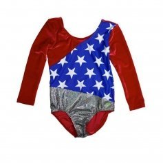 Girl Power 1984 USA Win Velvet 3/4 Sleeve Leotard