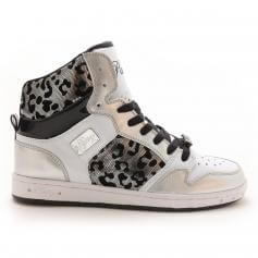 "Pastry Dance Adult ""Glam Pie\"" Foil Silver Cheetah Sneaker"