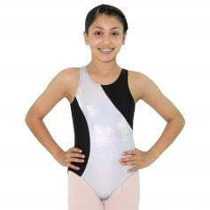 Reflectionz Silver Across Body Leotard
