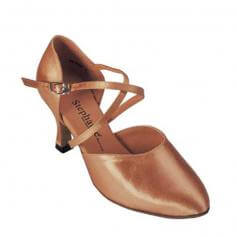 "Stephanie Ladies Tan Satin 2.5"" Heel Ballroom Shoes"