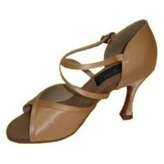 "Stephanie Ladies 2.5"" Heel Tan Satin Elite Dance Shoes"
