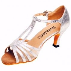"GOGO Ladies 2.5"" Heel Silver Leather/Scale Ballroom Shoe"