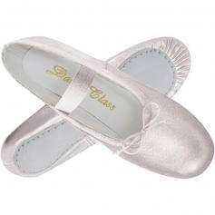 Dance Class® Metallic Silver Leather Full Sole Ballet Slipper