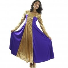 Metallic Color Block Long Sleeve Praise Dress [WSD101]