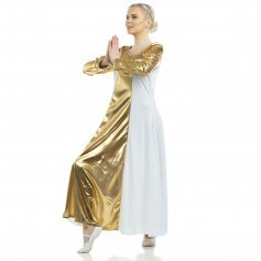Danzcue Metallic Color Block Long Sleeve Praise Dress