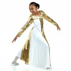 Danzcue Child Metallic Color Block Long Sleeve Praise Dress