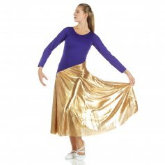 Danzcue Bi-Color Long Sleeve Dance Dress