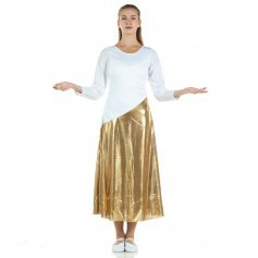 Danzcue Bi Color Long Sleeve Dance Dress