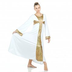 Danzcue Praise Shimmery Cross Long Sleeve Dress