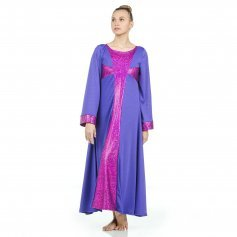 Danzcue Praise Dance Shimmery Cross Long Sleeve Dress
