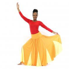 Danzcue Orange Circle Chiffon Dance Skirt