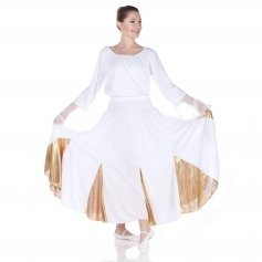 Danzcue White Gold Circle Dance Skirt