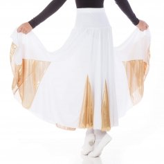 Danzcue Child White Gold Circle Dance Skirt